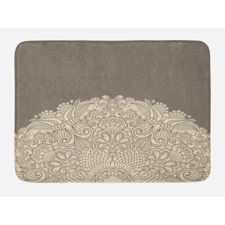 (Oriental Bath Mat, Half Mandala Figure with Rich Floral Curls Traditional Vintage Motif, Non-Slip Plush Mat Bathroom Kitchen Laundry Room Decor, 29.5 X 17.5 Inches, Beige and Dark Taupe, Ambesonne)