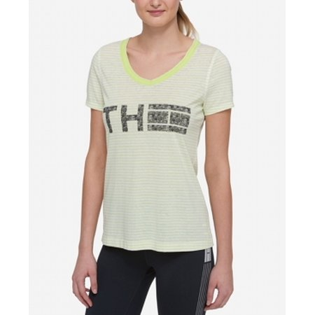 Tommy Hilfiger NEW Green Womens Large L Striped V-Neck Athletic Top