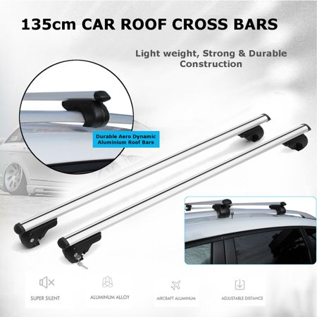 High Capacity Roof Cap - 135cm Universal Aluminium Car Roof manganese steel Bars Rack Lockable Locking Silver Cross Rails Maxload capacity 120KG