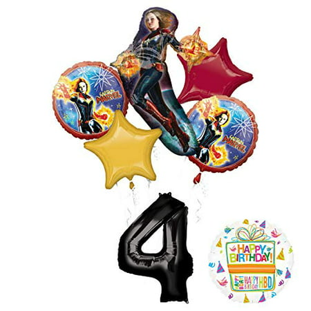Mayflower Products Captain Marvel Party Supplies 4th Birthday Balloon Bouquet - Marvel Birthday Party Supplies