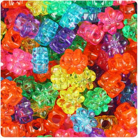 BeadTin Jelly Mix Transparent 13mm Flower Pony Beads (250pcs)