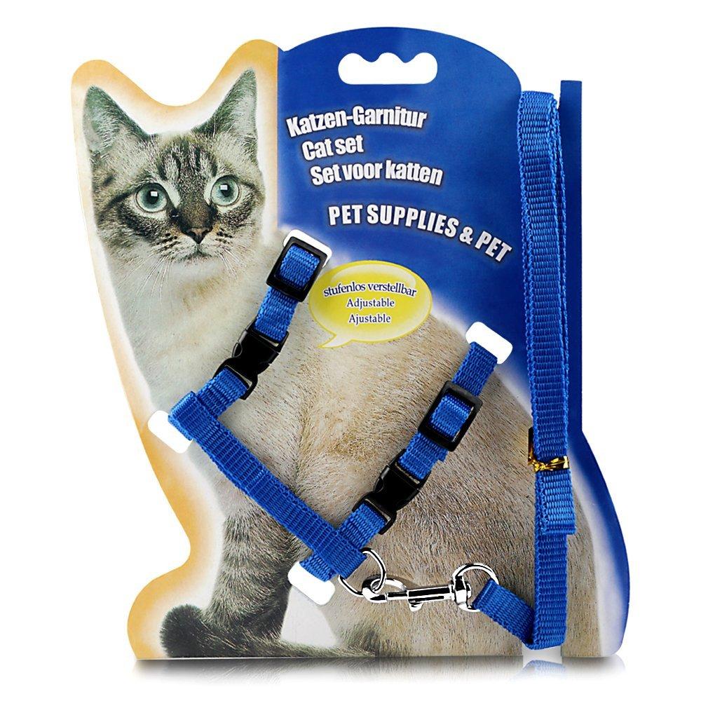 Adjustable Nylon Cat Harness And Leash Blue Walmart Com Walmart Com