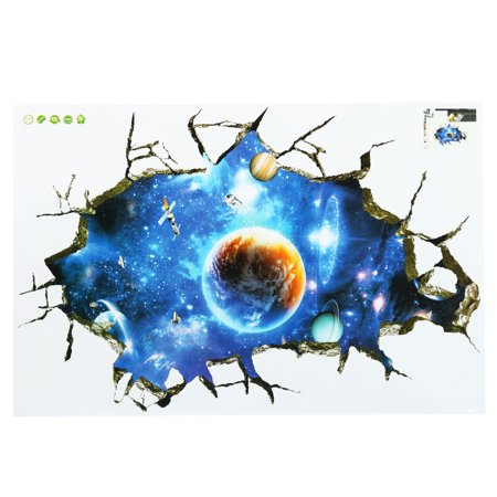 3d Floor Wall Stickers Planet Outer Space Children Bedroom