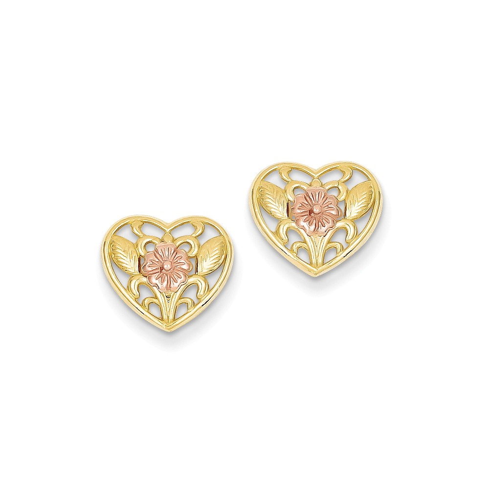 14K Two Tone Gold Heart with Pink Flower Post Earrings (10MM Long x 12MM Wide)