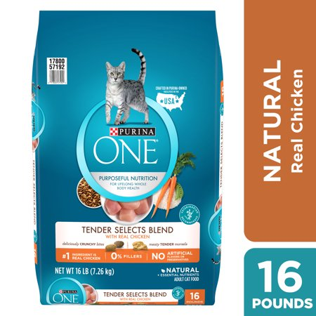 Purina ONE Natural Dry Cat Food, Tender Selects Blend With Real Chicken - 16 lb. Bag