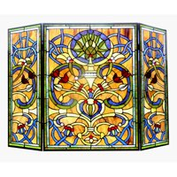 "CHLOE Lighting BARDOT Tiffany-glass Victorian 3pcs Folding Fireplace Screen 40"" Wide"