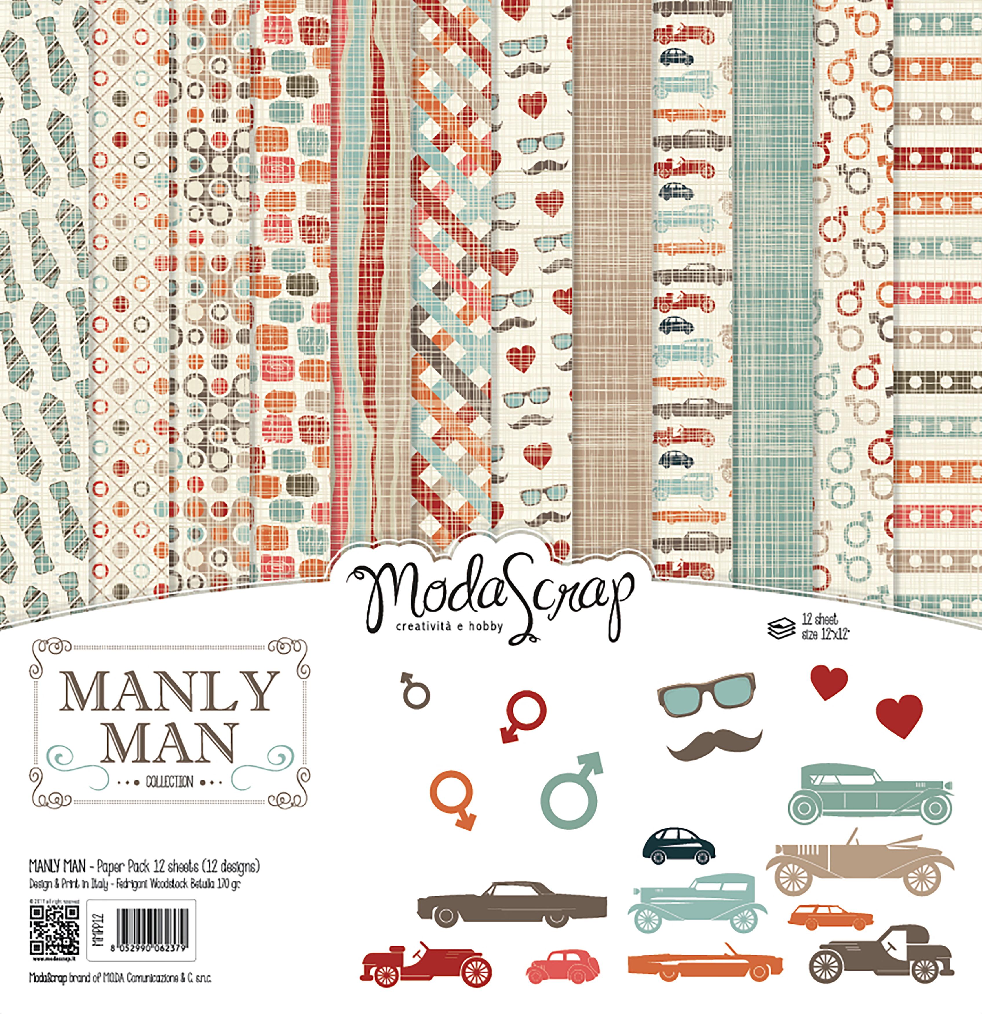 "Elizabeth Craft ModaScrap Paper Pack 12""X12"" 12/Pkg-Manly Man"