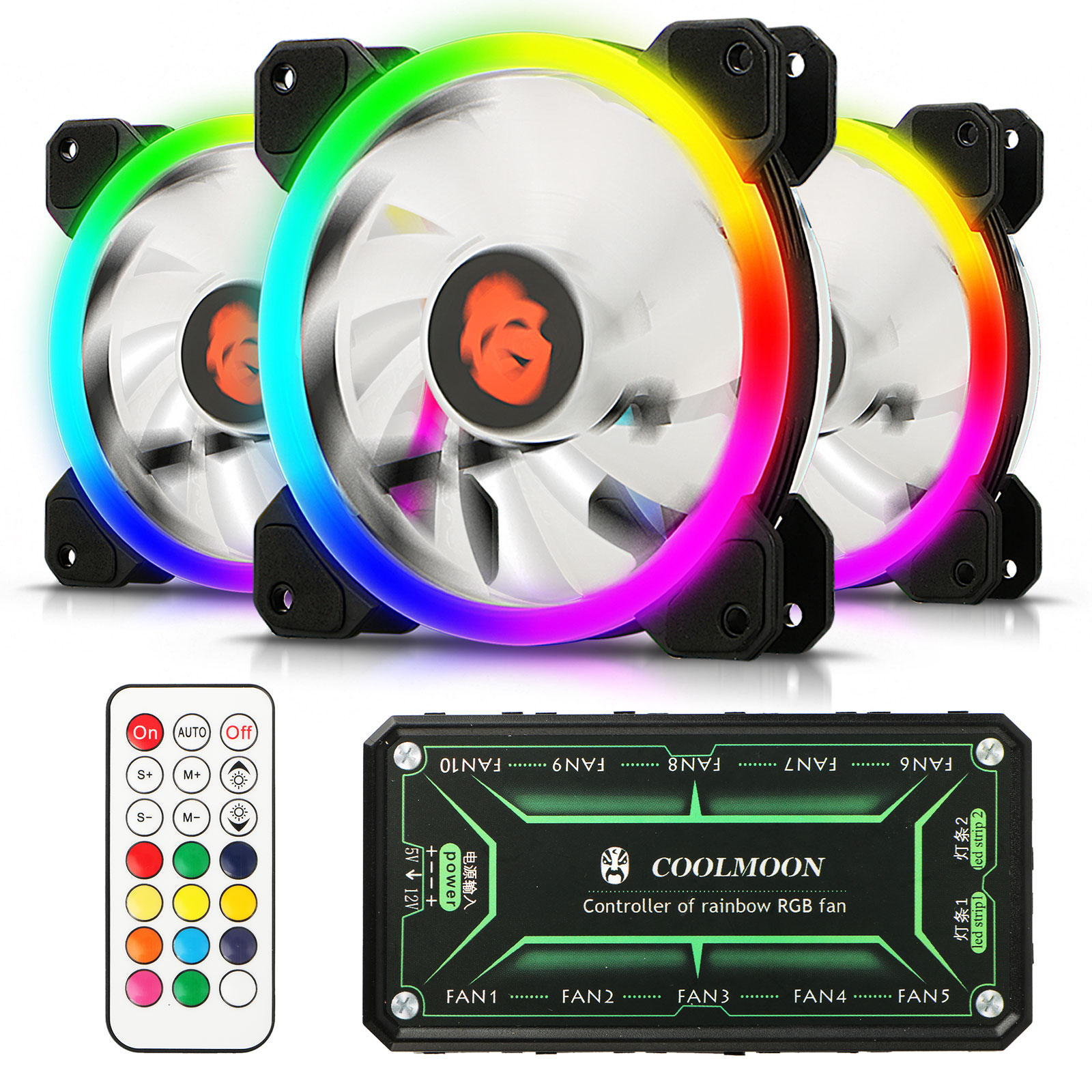 TSV 3-Pack 120mm RGB Fans - Wireless High Performance Dual-Loop Light LED Cooling Case Fan with Remote Controller for Gaming PC Computer CPU Cooler