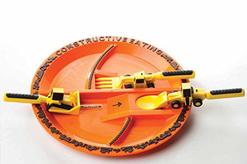 Constructive Eating Construction Utensil Set with Construction Plate by Constructive Eating