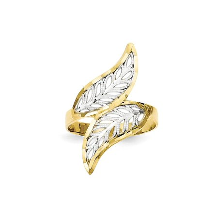 Solid 10k Yellow and White Gold Two Tone Diamond-Cut Filigree Ring (3mm) - Size 4 (Vintage Gold Tone Filigree)