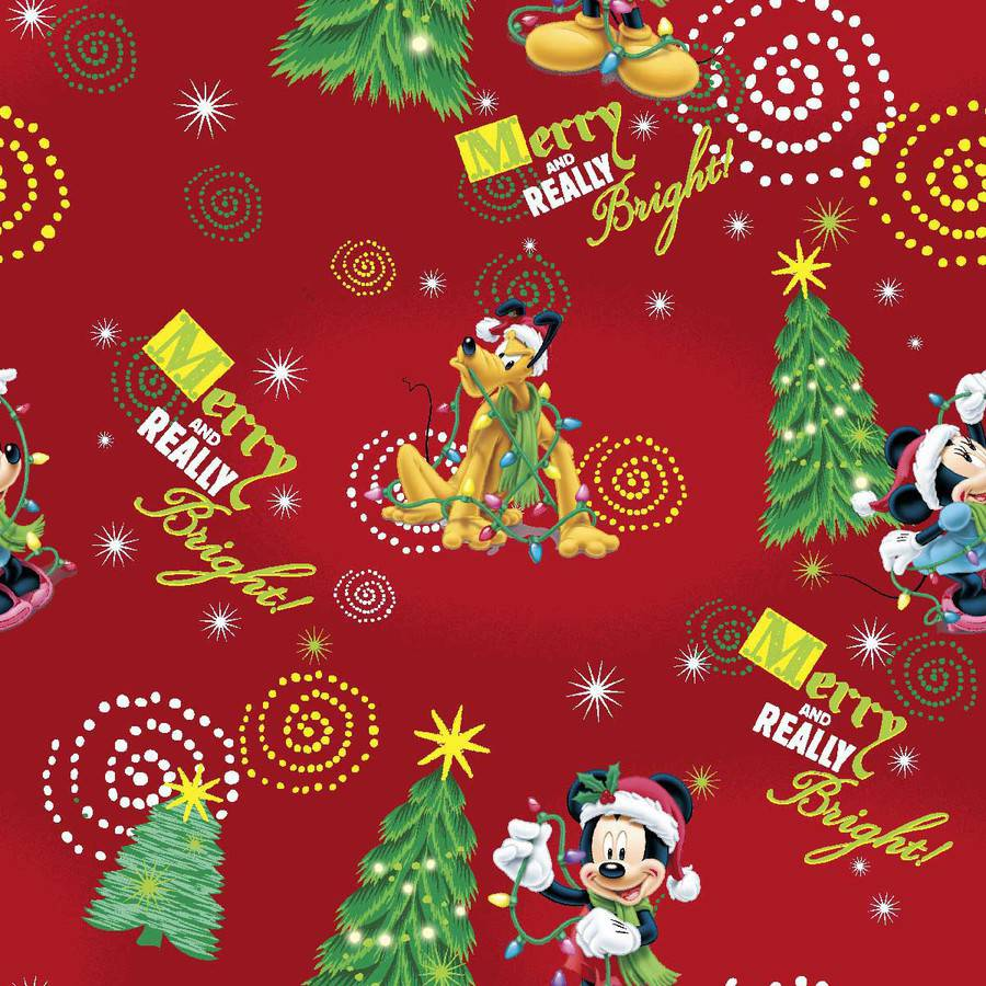 "Disney Mickey Merry and Really Bright Toss Cotton Fabric By The Yard, Red, 443/44"" Wide"