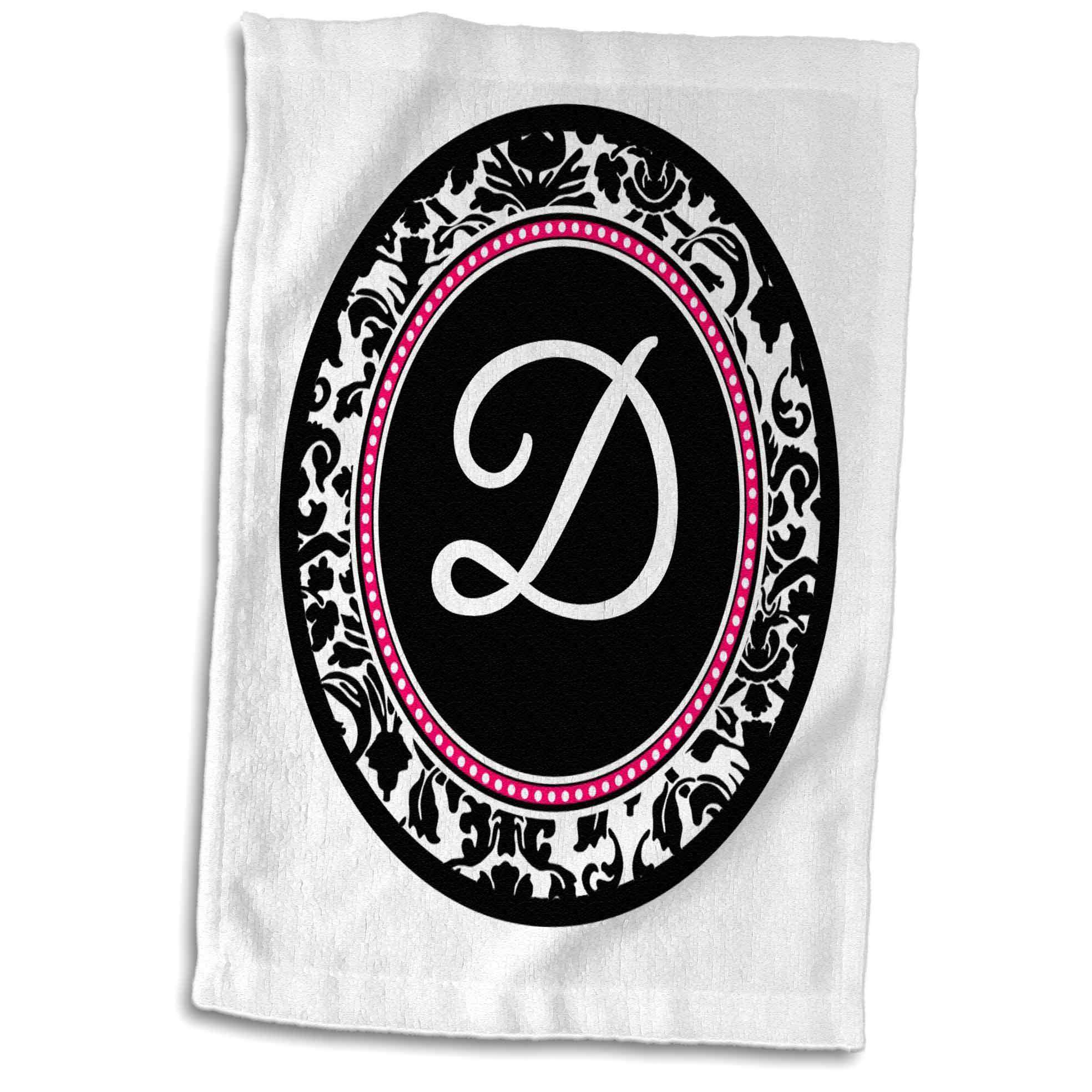 3dRose Letter D stylish monogrammed circle - girly personal initial - personalized black damask hot pink - Towel, 15 by 22-inch