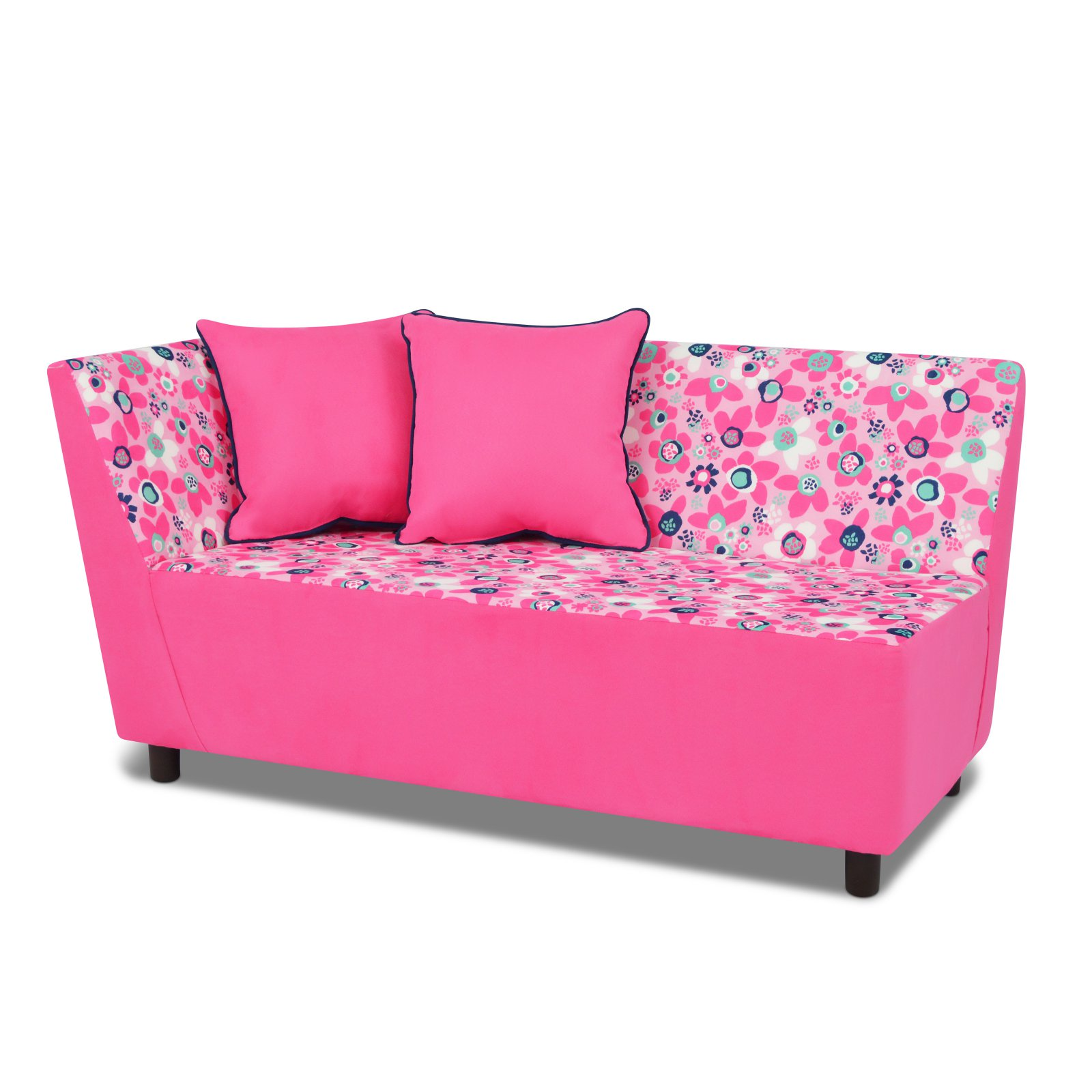 Tween Chaise w/two pillows - Wildflower with Passion Pink; Navy Welt Trim Accent