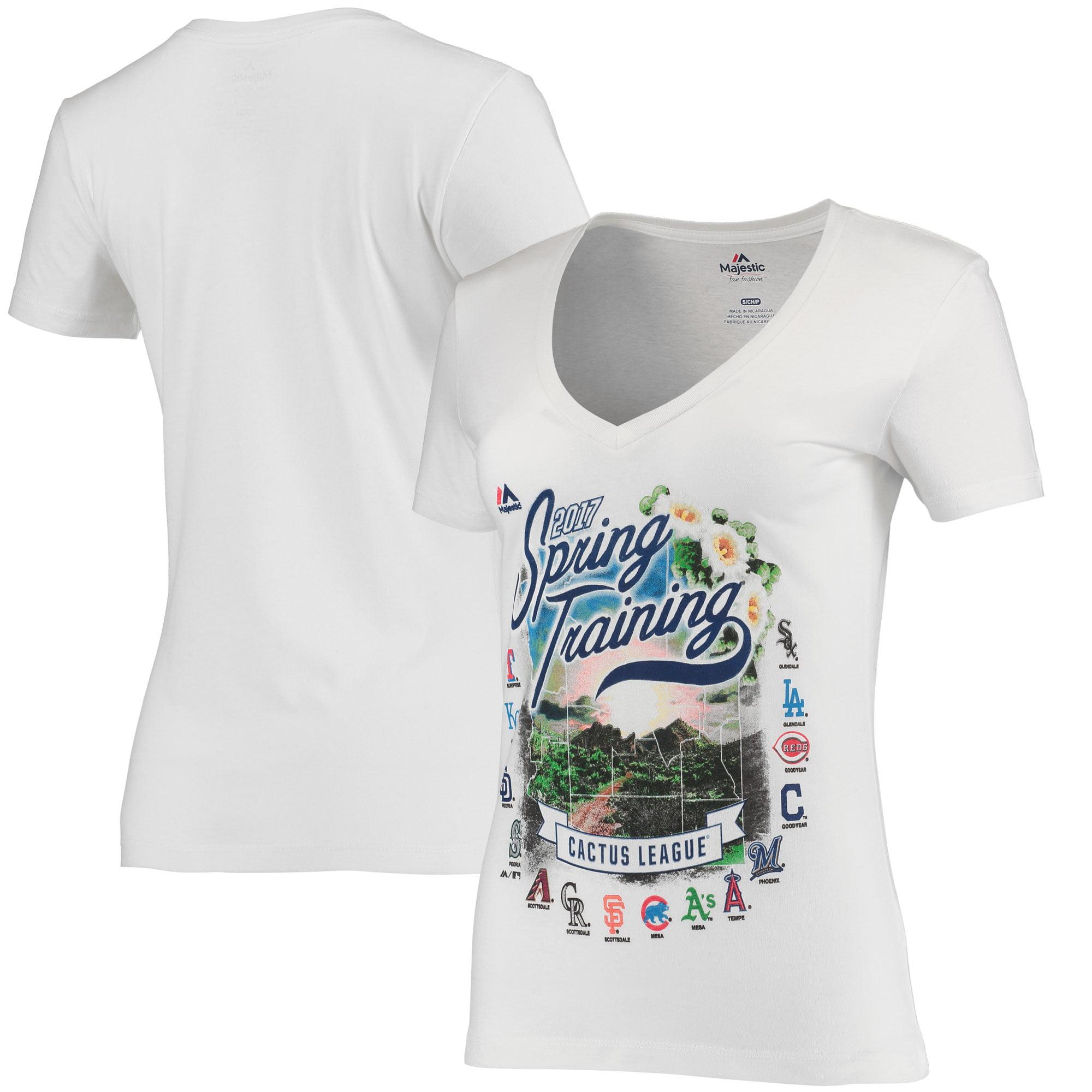 Majestic Women's 2017 Cactus League Spring Training Map V-Neck T-Shirt - White