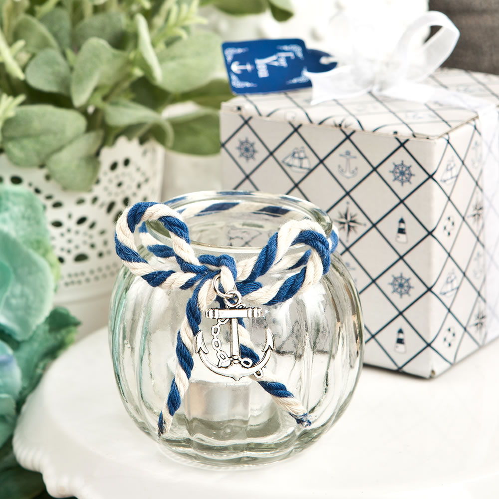 48 Anchor Nautical Themed clear glass round globe candle holder