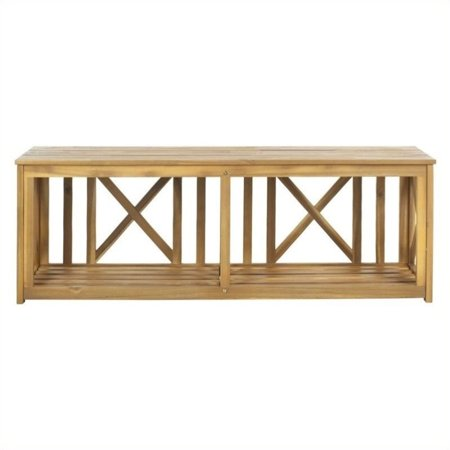 Teakwood Color - Hawthorne Collection Steel and Acacia Wood Bench in Teak Color