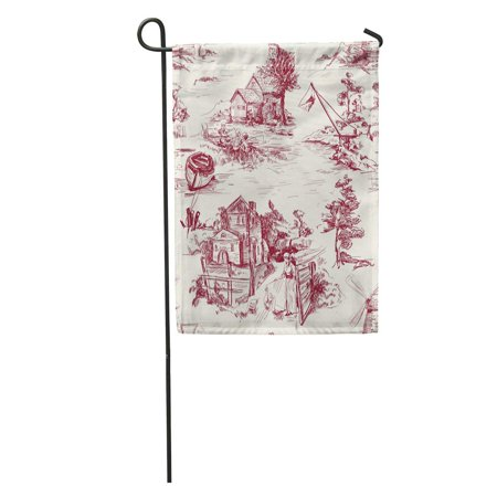 SIDONKU Classic Pattern Old Town Village Scenes of Fishing and Countryside Life in Toile De Jouy Beige Redk Color Garden Flag Decorative Flag House Banner 28x40 - Classic Toile Collection Liquid