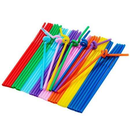 100Pcs Multicolor Plastic Extra Long Flexible Drinking Bending Straws