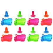 Set of 8 Cool Truck Toy Bubble Bottle Necklaces w/ Integrated Whistle (Colors May Vary)