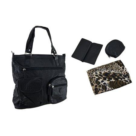 4 Pc. Mock Croc Handbag, Wallet, Coin Purse and Animal Print Scarf Set