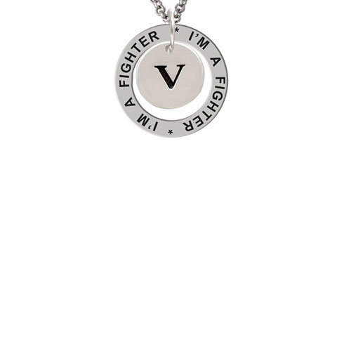 Disc 1/2'' Initial - v - I'm a Fighter Affirmation Ring Necklace
