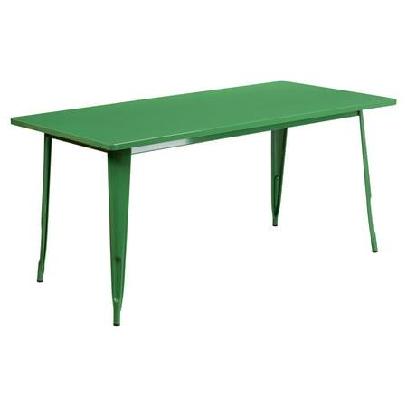 Flash Furniture 31.5 x 63 in. Rectangular Metal Indoor-Outdoor Table