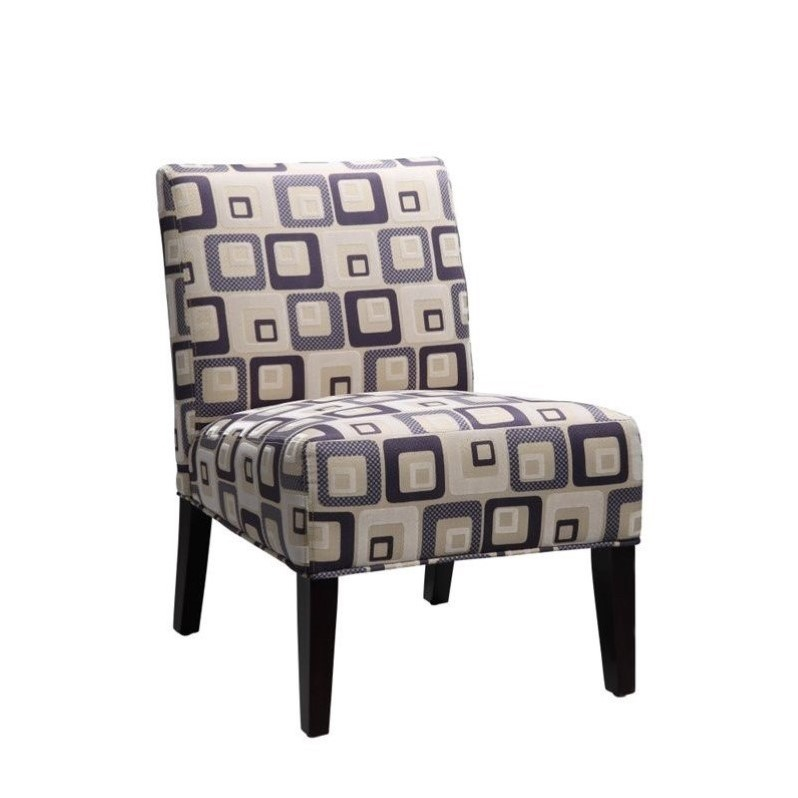 Conley Fabric Accent Chair - Geo Print Blue
