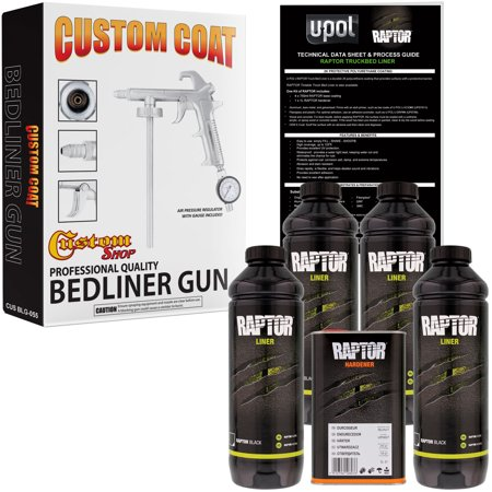 U-POL Raptor Black Urethane Spray-On Truck Bed Liner Kit w/ FREE Custom Coat Spray Gun with Regulator, 4 (Best Truck Bed Liner Kit)