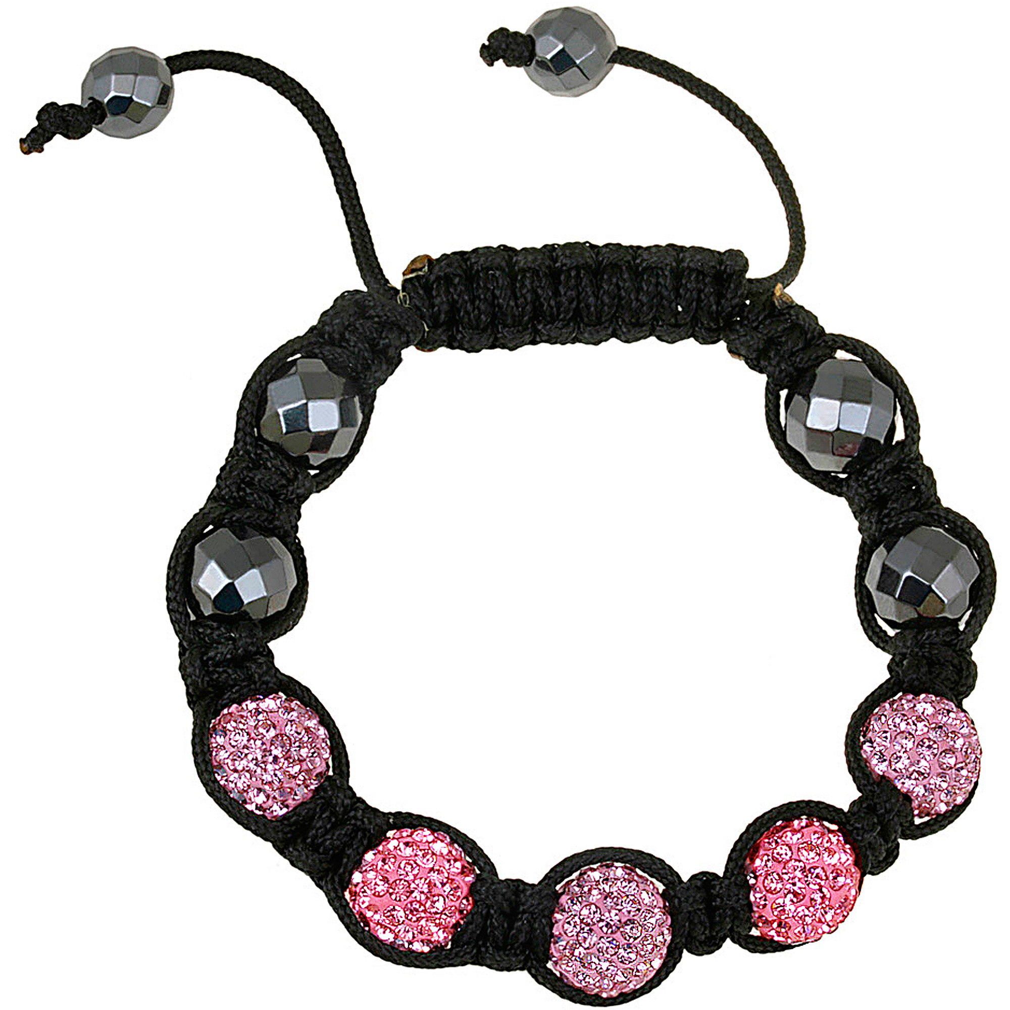 Crystal Shades of Pink Fireball & Hematite 10mm Shamballa Adjustable Bracelet, 7.5""
