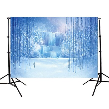 HelloDecor Polyster 7x5ft Christmas Winter Frozen Snow Ice Crystal Pendant World Backdrops Photography Background for Children Photo Studio Props Backdrop](Winter Wonderland Photo Backdrop)
