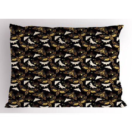 Firefly Pillow Sham, Flying Moths Mysterious Insects of Night Dreamy Forest Butterflies Magical Graphic, Decorative Standard Size Printed Pillowcase, 26 X 20 Inches, Multicolor, by Ambesonne - Fireflies Insects