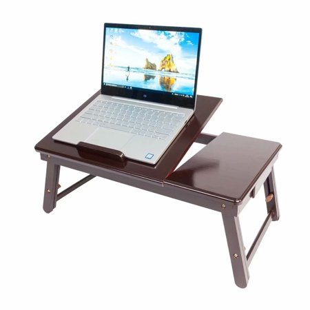 Akoyovwerve Folding Bamboo Laptop Table Lap Desk Bed Portable Computer Tray Stand Holder Wood,Retro Double Flowers Pattern - - Laptop Bed Trays
