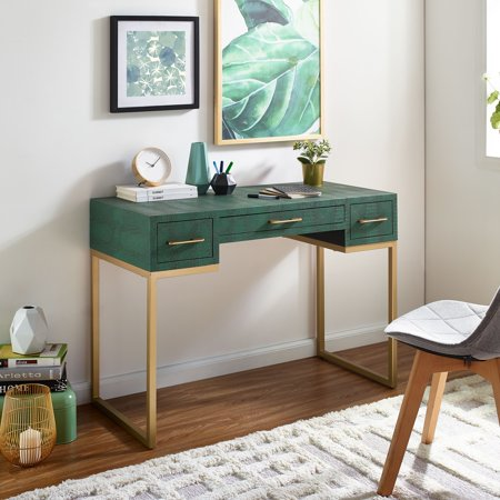 Southern Enterprises Kabelle Writing Desk with Drawers, Alligator/Gold (Alligator Desk)