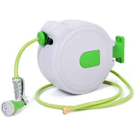 costway 65 retractable water garden hose reel auto wall mounted wspray gun - Retractable Garden Hose Reel