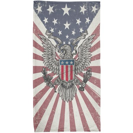 4th of July Born Free Distressed American Eagle All Over Beach Towel