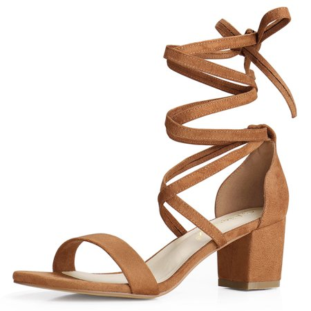 Unique Bargains Women's Lace Up Open Toe Mid Chunky Heeled Sandals Brown (Size 6)