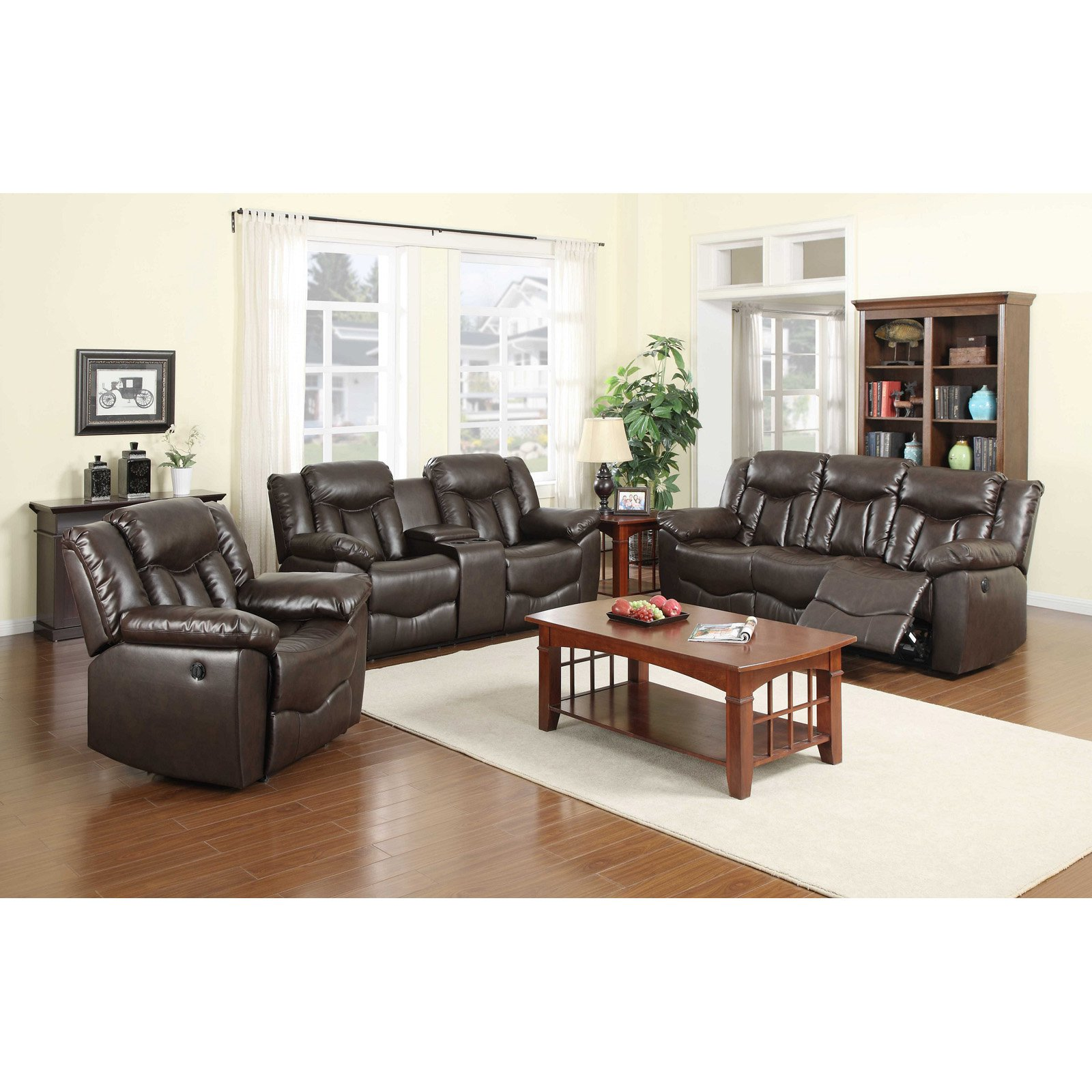 NH Designs 71006 Bonded Leather Sofa Recliner and Loveseat Set