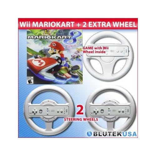 Refurbished Mario Kart 8 Nintendo Wii U With Original Wheel And 2 Extra Wheels