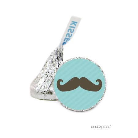 Mustache  Animals & Shapes Hershey´s Kisses Baby Shower Stickers, 216-Pack