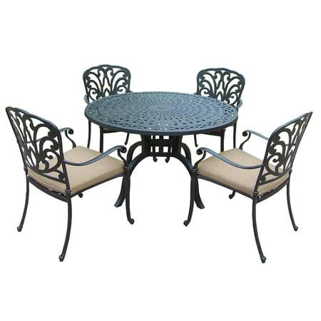 5 Piece Jet Black Round Aluminum Patio Stackable Chair
