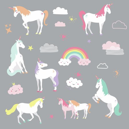 UNICORN MAGIC 23 WALL DECALS Nursery Room Decor Unicorns Rainbow Peel & Stick Stickers