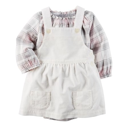Carter's Baby Girls' 2-Piece Plaid  Bodysuit & Corduroy Skirtall Set, 12 Months](Plaid Onesie)