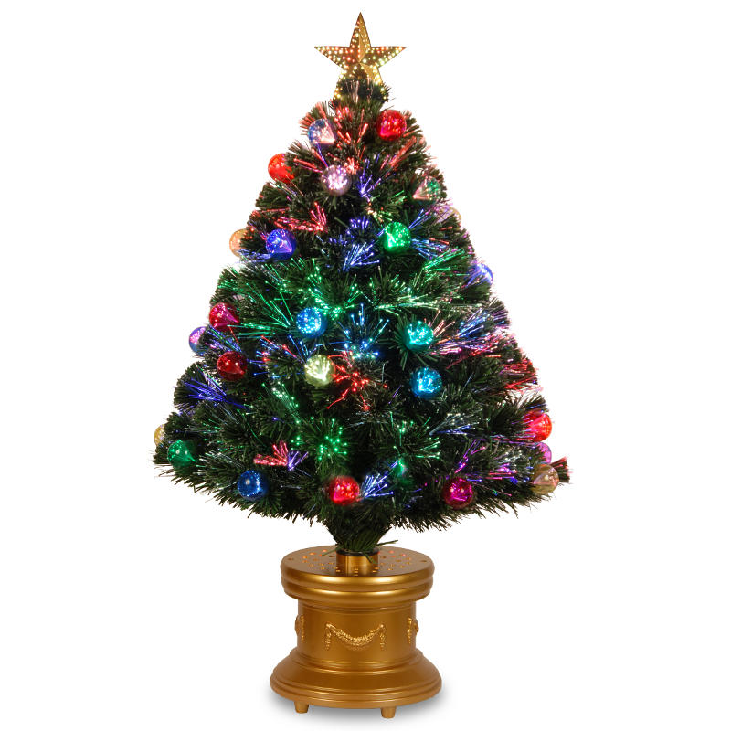 3' Pre-lit Potted Fiber Optic Artificial Christmas Tree with Firework Ball Ornaments ��� Multi Lights