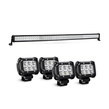 Nilight Led Light Bar 52 Inch 300W Spot Flood Combo 4PCS 4 Inch 18W Spot LED Fog Lights, 2 years Warranty