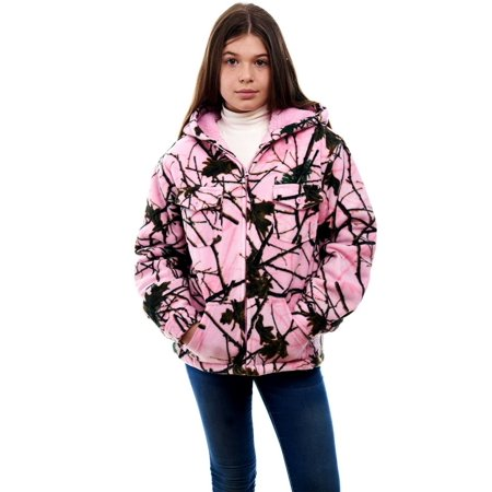 Girls Sherpa Lined Jacket (KID'S GIRL BOY SHERPA LINED WARM HOODED JACKET- CAMO / PINK FOREST CAMOUFLAGE (PINK)