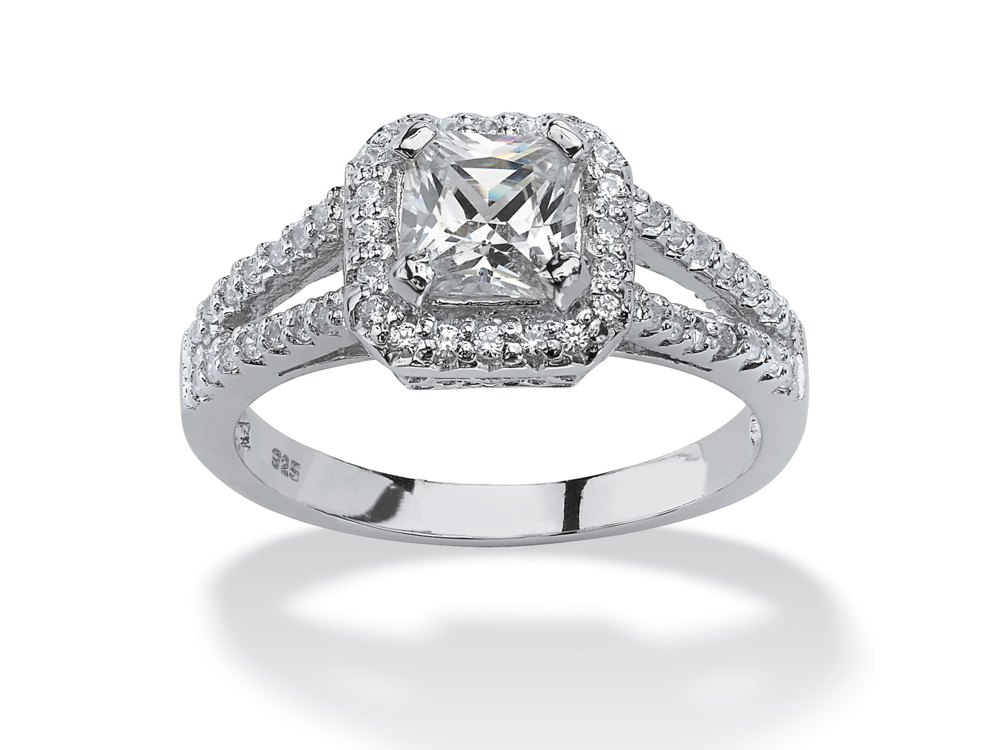 1.63 TCW Princess-Cut Cubic Zirconia Engagement Ring in Platinum over Sterling Silver by PalmBeach Jewelry