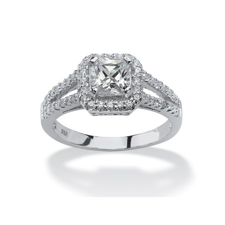 1.63 TCW Princess-Cut Cubic Zirconia Engagement Ring in Platinum over Sterling (Best Platinum Engagement Rings)