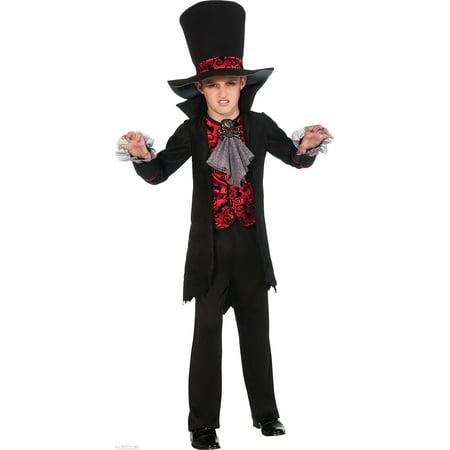 Child Boys Vampire Lord Goth Vamp Gothic Halloween Costume Black Jacket Hat - Vampire Childrens Halloween Costumes