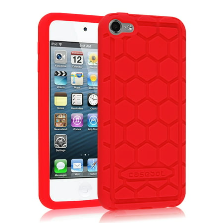 (Fintie iPod Touch 6 / iPod Touch 5 Case - [Kids Friendly] Shock Proof Anti Slip Silicone Protective Cover, Red)