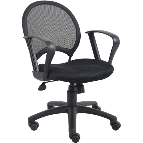Boss Office Products Mesh Task Chair with Adjustable Arms, Black